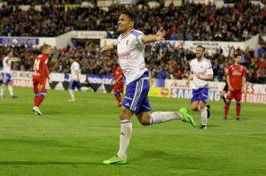 Marcelo Silva celebrando el tercer gol que anotó.